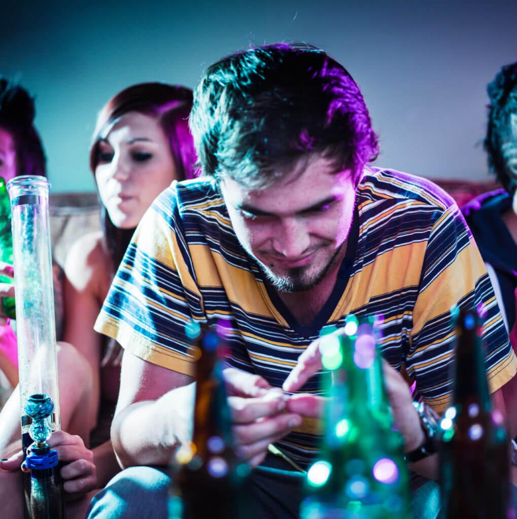 heroin addiction alcohol abuse man cannabis use marijuana party