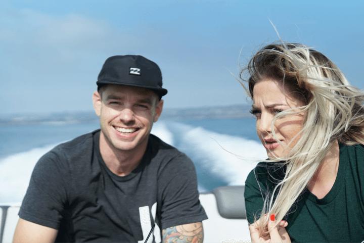 smiling moustache adult blonde boat wind sea detox drugs