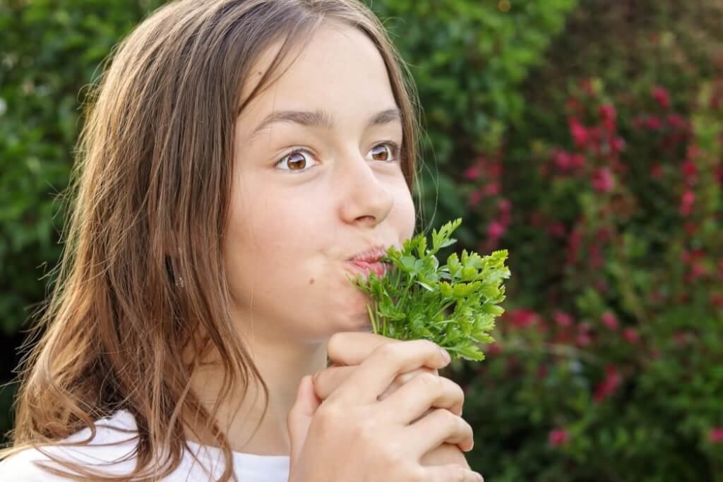teenager girl eating obsession healthy food