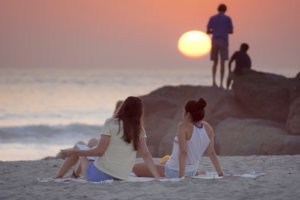 beach during sunset girl college students meth detox california