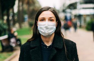 virus medical flu mask health protection focus on what to control covid vaccine woman black mask park