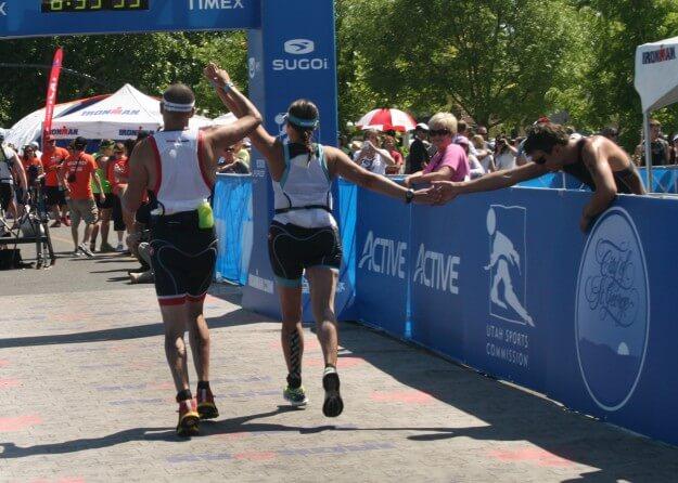 finish line triathlon exercise sport running people