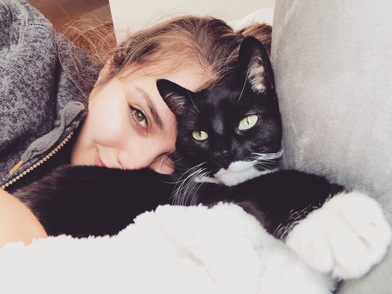 black cat pets detoxing woman happy smile sweater rehabilitation