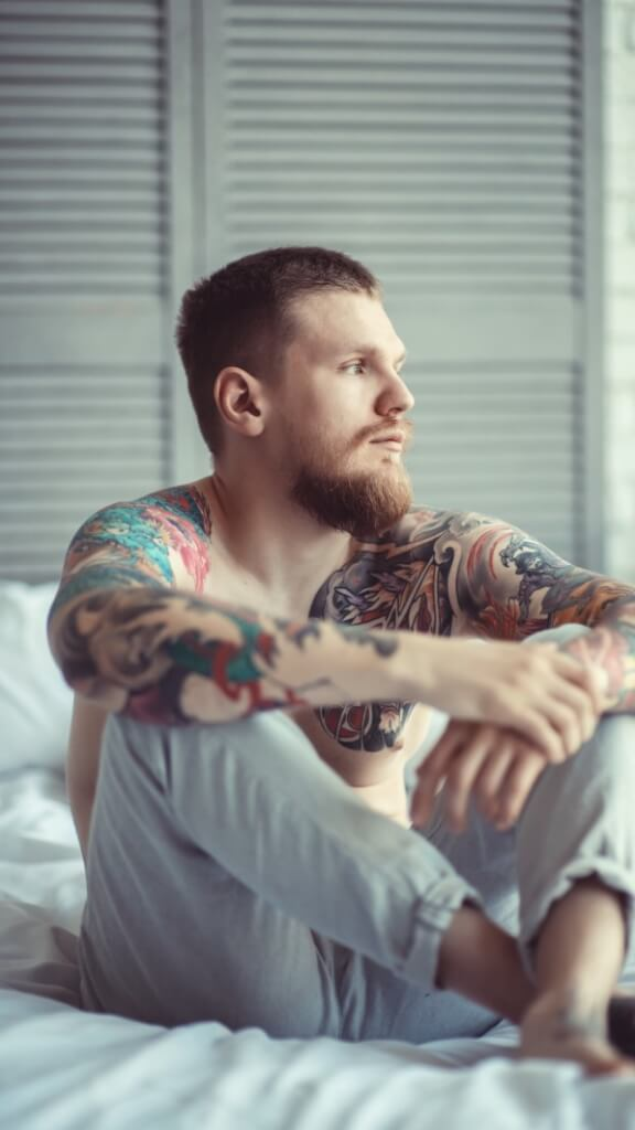 alone tattoo mustache beard tattoos thinking feeling tattooed alone problems with living someon depression depressed